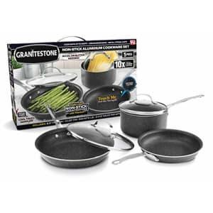 GRANITESTONE 5-Piece Nonstick Cookware Set, Scratch-Resistant Pots and Pans, Granite-coated for $43