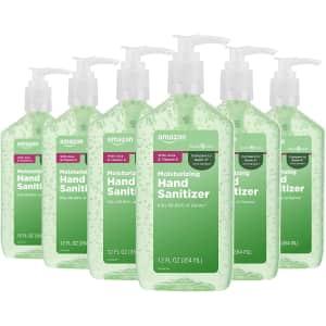 Amazon Basic Care Aloe Moisturizing Hand Sanitizer 12-oz. Pump Bottle 6-Pack for $8