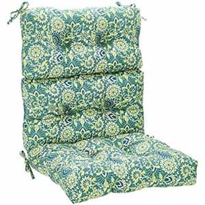 Amazon Basics Tufted Outdoor High Back Patio Chair Cushion- Blue Flower for $57