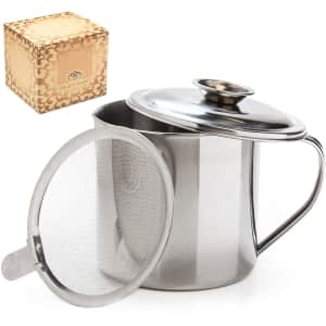 Aulett Home Bacon Grease Container w/ Strainer for $12