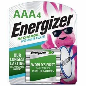Energizer Rechargeable AAA Batteries, NiMH, 800 mAh, Pre-Charged, 4 count (Recharge Power Plus) for $12
