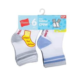 Hanes Boys' Toddler Crew Non-Skid Socks, White/Gray, 12-24 Months for $7