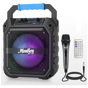 Moukey Bluetooth Karaoke Machine for $34