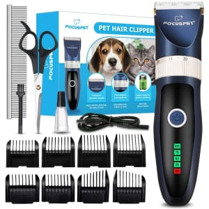 Focuspet Professional Cordless Dog Grooming Clipper Set for $25