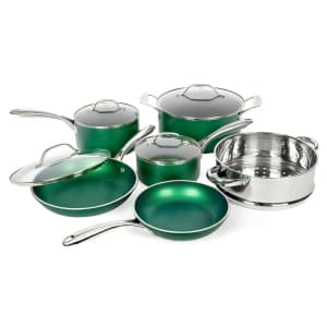 GraniteStone Emerald Aluminum Triple-Layer Nonstick 10-Piece Cookware Set for $80