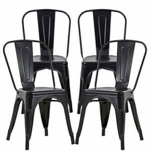 FDW Metal Dining Chairs Set of 4 Metal Chairs Patio Chair 18 Inches Seat Height Dining Room Kitchen for $148