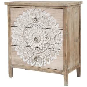 LuxenHome Medallion 3-Drawer Wood Chest for $224
