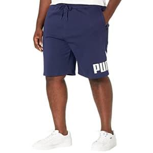 """PUMA Men's Big & Tall Essentials Big Logo Fleece 10"""" Shorts BT, Peacoat/White, LT for $29"""