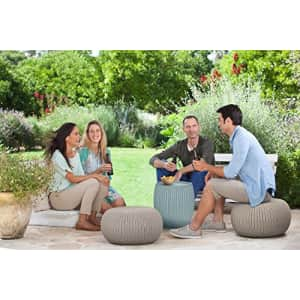 Keter Urban Knit Pouf Ottoman Set of 2 with Storage Table for Patio and Room Dcor-Perfect for for $164