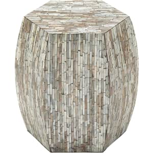 """Litton Lane 16"""" Mother of Pearl Barrel Accent Table for $86"""