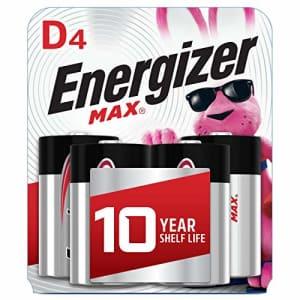 Energizer Max D Batteries, Premium Alkaline D Cell Batteries (4 Battery Count) for $12