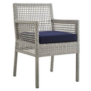 Modway Aura Wicker Rattan Outdoor Patio Dining Arm Chair with Cushion in Gray Navy for $195