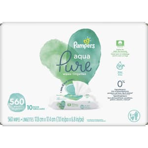 Pampers Baby Wipes Aqua Pure Sensitive Water Wipes 560-Count for $22 via Sub & Save