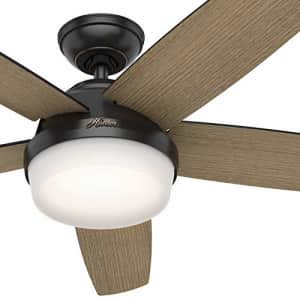 Hunter Fan 52 inch Contemporary Matte Black Indoor Ceiling Fan with Light Kit and Remote Control for $80