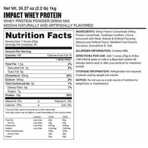 Myprotein Impact Whey Protein Powder, Mocha, 2.2 Lb (40 Servings) for $43