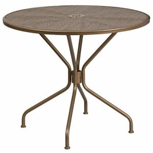 """Flash Furniture Commercial Grade 35.25"""" Round Gold Indoor-Outdoor Steel Patio Table for $134"""