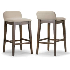 Glamour Home Atia Solid Rubberwood Bar Stool 2-Pack for $149