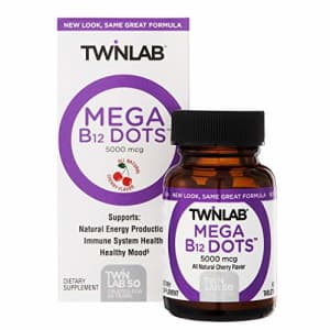 Twinlab Mega B-12 Dots Vitamin Supplement 5000 MCG - Fast-Dissolve Cherry Tablets - Mood Support, for $23