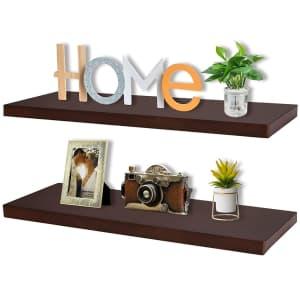 """Bamtalk 16"""" Bamboo Floating Shelf 2-Pack for $19"""