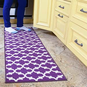 "Ottomanson Glamour Collection Non-Slip Runner Rug, 20"" X 59"", Purple for $36"