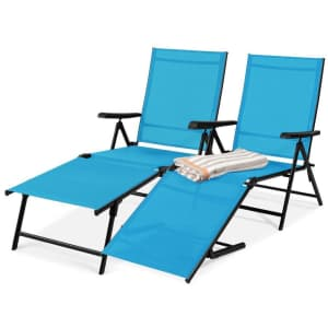 Best Choice Products Outdoor Patio Chaise Recliner Lounge Chair 2-Pack for $140