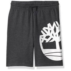 Timberland Boys' Drawstring Logo Knit Shorts, Black Heather, Small (8) for $26