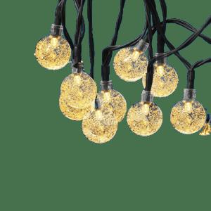 Bexdir 22.9-Ft. Crystal Globe Outdoor Solar String Lights 2-Pack for $15