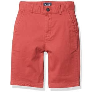 The Children's Place Boys' Stretch Chino Shorts, Barn Red, 12 husky for $15