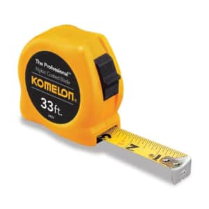 Komelon 4933 The Professional Nylon Coated Steel Blade Tape Measure 33-Foot by 1-Inch, Yellow Case for $15