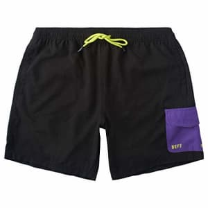 NEFF Men's Daily Hot Tub Board Shorts for Swimming, Black/Purple, X-Large for $40
