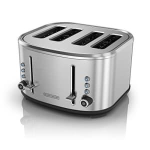 Black + Decker BLACK+DECKER 4-Slice Extra-Wide Slot Toaster, Stainless Steel, TR4300SSD for $79