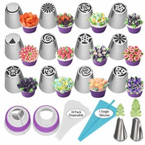 Ouddy Russian Piping Tips 27pcs Baking Supplies Set Cake Decorating Tips for Cupcake Cookies Birthday for $11