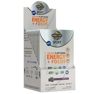 Garden of Life SPORT Organic Plant-Based Energy + Focus Pre Workout Powder Packets, Blackberry for $33