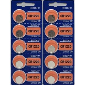 10 X Cr1220 Sony 3 Volt Lithium Coin Cell Batteries (On Card) for $7