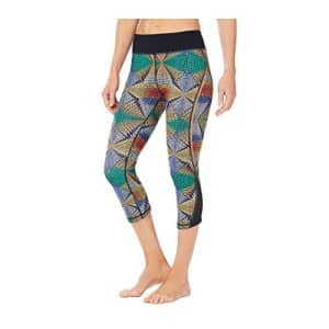SHAPE activewear Women's Mesh Inset Crop Pant, Techno Tribal, X-Large for $13