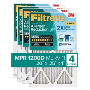 Filtrete Dual-Action Micro Allergen Plus 2X Dust Defense Filter 4-Pack for $35 for members