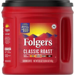 Folgers 30.5-oz. Classic Roast Ground Coffee for $5