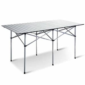 Giantex Folding Camping Table, Portable Picnic Table, Aluminium Patio Table, Roll Up Tabletop with for $77