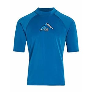 Kanu Surf Men's Mercury UPF 50+ Short Sleeve Sun Protective Rashguard Swim Shirt, Abacos Denim, for $20