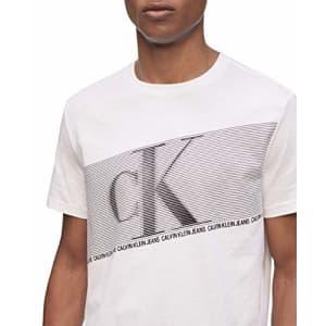 Calvin Klein Men's Ck Fashion Logo Short Sleeve Crew Neck T-Shirt, White Flash Stripe, Small for $15