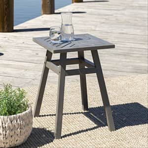 Walker Edison Furniture Company Outdoor Patio Wood Chevron Square End Side Table All Weather for $74