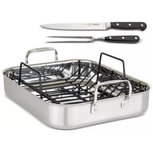 Viking 3-Ply Stainless Steel Roasting Pan w/ Rack and Bonus Carving Set for $168 in cart