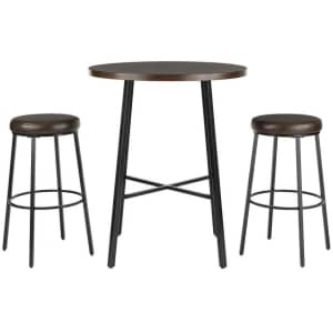 StyleWell 3-Piece Wood-Top Bar Table Dining Set for $130