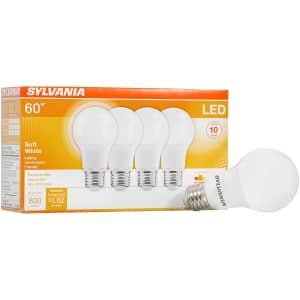 Sylvania 60W LED A19 Light Bulb 4-Pack for $9