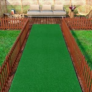 "Ottomanson Evergreen Artificial Turf Area Rug, 3'X7'3"", Green for $40"