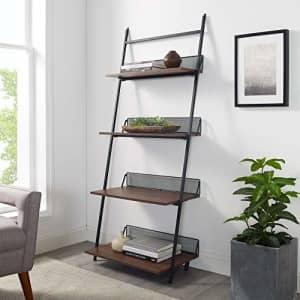 Walker Edison Furniture Company Modern Industrial Metal and Wood Ladder Bookcase Bookshelf Home for $108