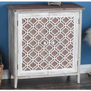 Litton Lane Carved Lattice Solid Wood Cabinet for $206