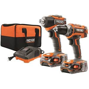Ridgid R9603 18V Lithium Ion Cordless Brushless Drill Driver and Impact Driver Combo Kit (2 x 1.5 for $197