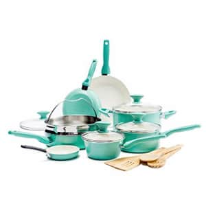 GreenPan Rio Healthy Ceramic Nonstick, Cookware Pots and Pans Set, 16-Piece, Turquoise for $142