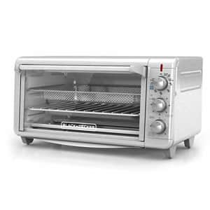 """Black + Decker Black+Decker TO3265XSSD Extra Wide Crisp N Bake Air Fry Toaster Oven, Silver, Fits 9"""" x 13"""" Pan for $106"""